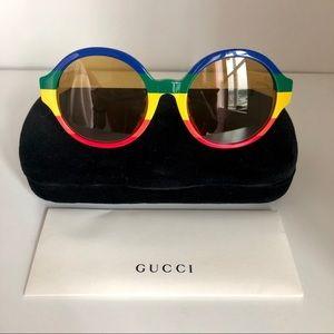 NWT - Gucci Round Rainbow Stripe Sunglasses